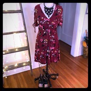 NWOT Maroon floral mini dress